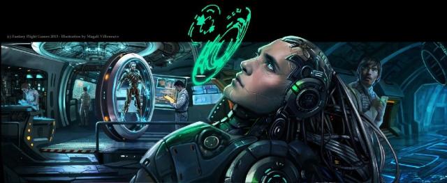 "Netrunner ""Creation and Control"" box cover art. (c) Fantasy Flight Games 2013. Illustration by Magali Villeneuve."