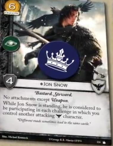 Juanito Nieve     Coste 6, Fuerza 4, Icono de Intriga     Bastardo, Mayordomo     Sin accesorios excepto arma.     Mientras Jon Snow este enderezado, se considera que esta participando en cada reto en el que controles otro personaje Guardia de la Noche atacante.