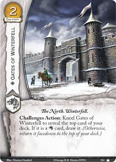 Puertas de Invernalia Localizacion coste 2 El Norte. Invernalia  Acción retos: Arrodilla las puertas de Invernalia para revelar la carta superior de tu mazo. Si es una carta Stark, robala. (De otra manera, devuelvela boca abajo a la parte superior de tu mazo).