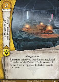 La Cámara de la mesa pintada. Localización de coste 2. Roca dragón. Reacción: Después de que ganes la Dominación, arrodilla la Cámara de la mesa pintada para mover 1 punto de poder de la carta de facción del oponente a la tuya.