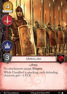 Inmaculados. Coste 4. Fuerza 3. Militar. Poder. Ejército Sin accesorios excepto Arma. Mientras los Inmaculados están atacando, cada personaje defensor tiene -1 Fuerza.