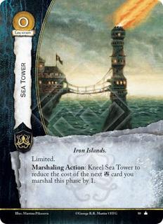 Torre del mar Islas de hierro Limitada Acción reclutamiento: Arrodilla la Torre del mar para reducir el coste de la siguiente carta Greyjoy en 1 esta fase.
