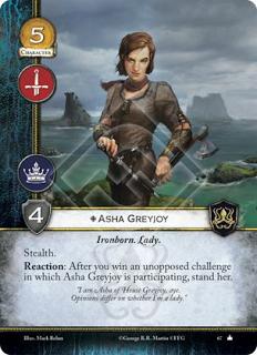 Asha Greyjoy Hijo de hierro, Lady Sigilo Reacción: Después de que ganes un reto sin oposición en el que Asha Greyjoy este participando, enderezala.
