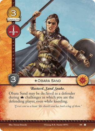 Obara Arena Bastardo. Serpiente de Arena. Obara Arena puede ser declarada como defensora durante retos de poder en el que seas el jugador defensor, incluso mientras está girada.